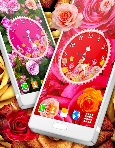 Roses Analog Clock Wallpaper app apk free download for