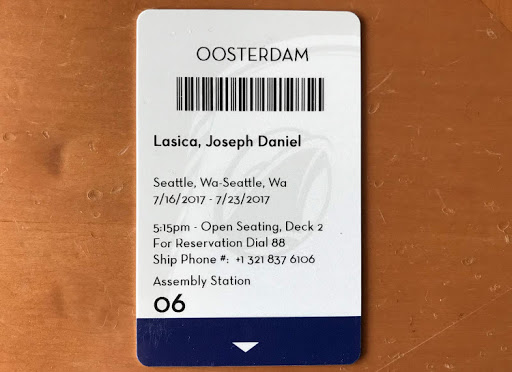This is the kind of keycard you'll be issued upon boarding your ship — but don't place it next to your smartphone or it may be deactivated.