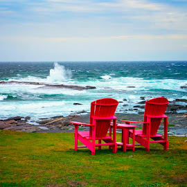 My Ocean View by Rita Taylor - Artistic Objects Furniture ( waves, red, storm, chair, water,  )