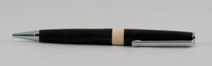 "Photo: Carl Powell - 1/2"" x 5 1/2"" pen for the troops [ebony, holly]"