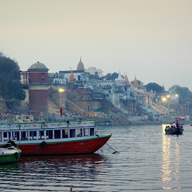 **Sham-e-Banaras** by Shishir Kumar - Landscapes Travel ( canon, ganga, ghat, colorful, boats, beautiful place, traveler, tourism, varanasi, travel, tourist, 700d, sunset, banaras, india, evening, culture, religious, river )