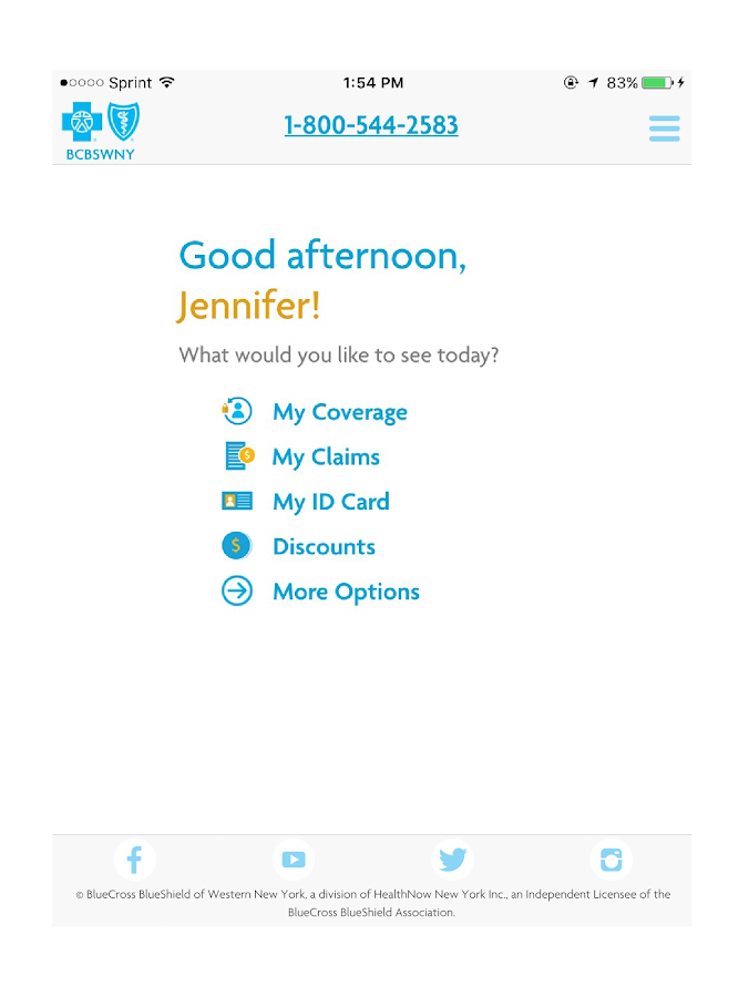 BCBSWNY Mobile- screenshot