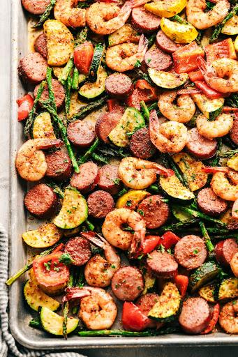 Cajun Shrimp and Sausage Vegetable Sheet Pan