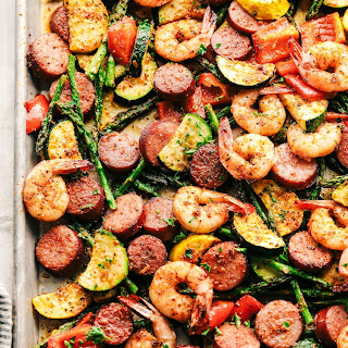 Cajun Shrimp and Sausage Vegetable Sheet Pan Recipe