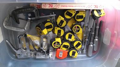 Photo: Tape measures, hand drills, staple guns