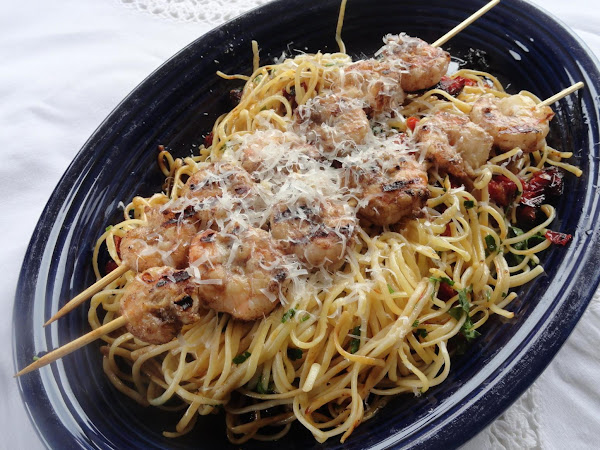 Spicy Shrimp On A Bed Of Lemon/butter/tomato Pasta Recipe