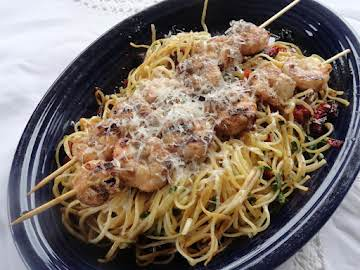 Spicy Shrimp on a Bed of Lemon/Butter/Tomato Pasta