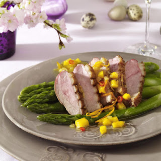 Duck Breast with Mango Salsa and Asparagus.