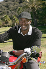 """Photo: Aldis Hodge (TNT's """"Leverage"""") poses on one of Harley Davidson's Hole In One top prize motorcycles at the 2009 Scott Medlock Celebrity Golf Invitational & private rock concert with Robby Krieger (The Doors).  Photo credit: Carla Van Wagoner / Captured Images carlavanwagoner@capturedimagesphotography.net"""