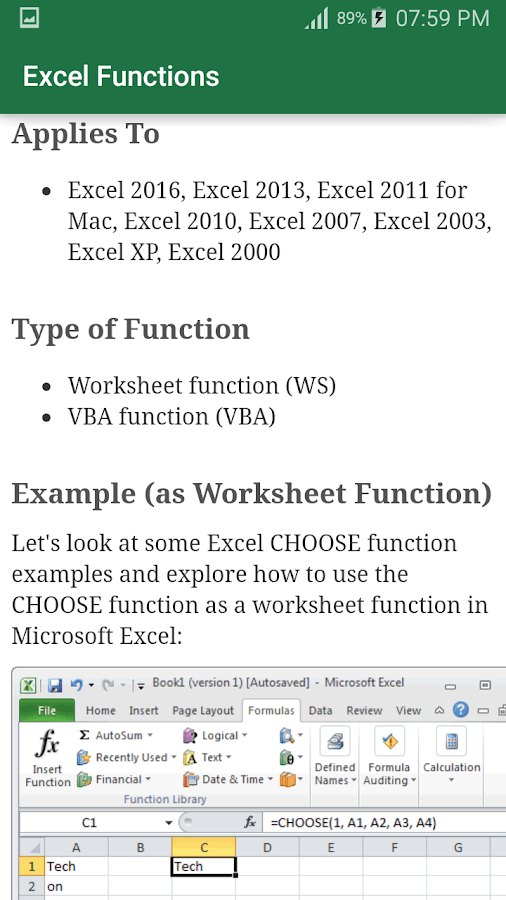 Excel Functions Android Apps on Google Play – Worksheet Function Vba