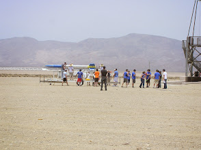 Photo: UCSD Senior Student project liquid fueled rocket mounted on the rail.