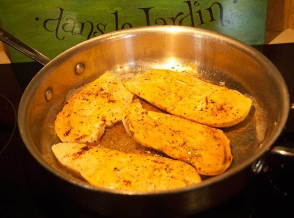 Flip the chicken breasts, and then cook, covered, for an additional 5 minutes.