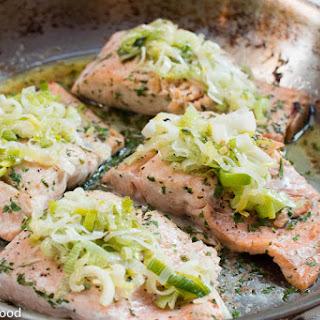 Roast Salmon w/ Buttery Leeks.