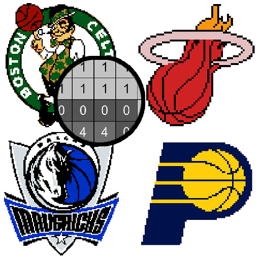 Basketball Logo Color by Number:Pixel Art Coloring Icon