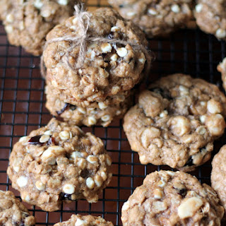 White Chocolate Cherry Macadamia Nut Oatmeal Cookies {made with coconut oil}