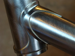 Photo: Finishing up the down tube lug so I can braze on some head tube cable stops.