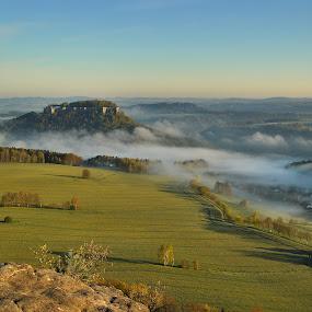 Königstein, Saxony , Germany by Petr Musil - Landscapes Sunsets & Sunrises ( fogs, konigstein, sunset, rock, germany, saxony )
