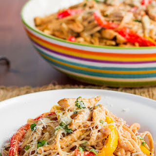 Healthy Cajun Chicken Linguine.