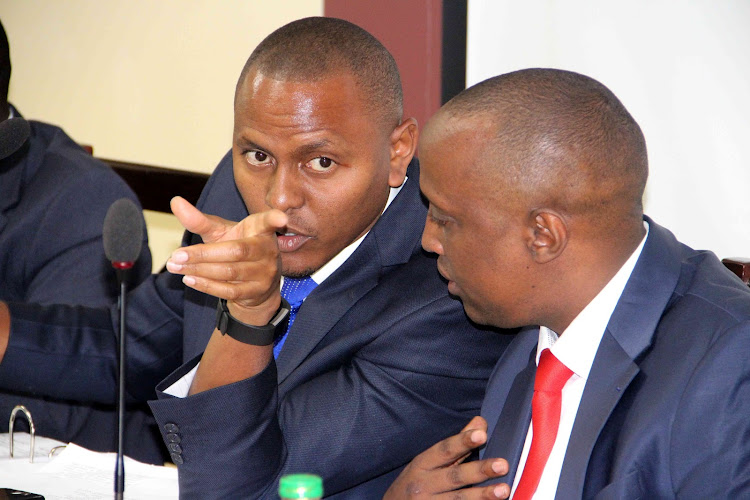 Acting Nairobi County Assembly Speaker Chege Mwaura and Majority Leader Abdi Guyo during a session of the Nairobi County Assembly Committee on Appointments on March 11