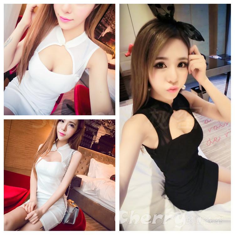 韓版夜店制服式性感低胸蝴蝶結網紗包臀連身裙