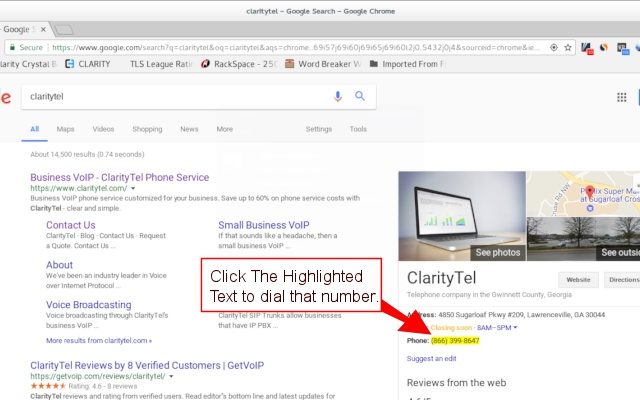 ClarityTel click2dial