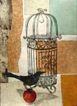 "Photo: Bird on a Ball, 30 x 22"", intaglio, mixed media"