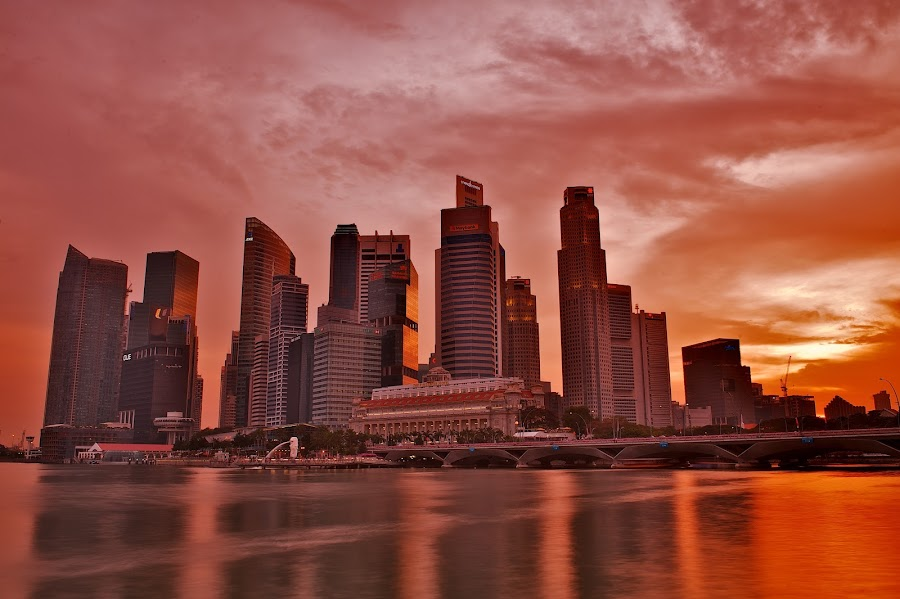 City of Red Gold by Kenny Lee - City,  Street & Park  Vistas