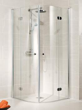 Paroi de douche arrondie avec portes pivotantes-pliantes