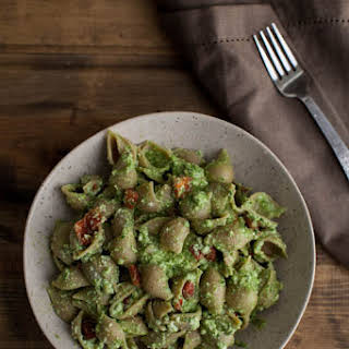Spinach-Pesto Pasta with Roasted Red Peppers and Ricotta.