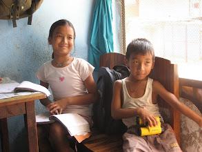Photo: phurba's children, in his kitchen/restaruant
