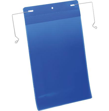 Plastficka A4S trådbygel blå