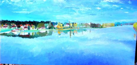 Photo: l'étang de sault l'automne (100*50 cm) huile sur toile 2003