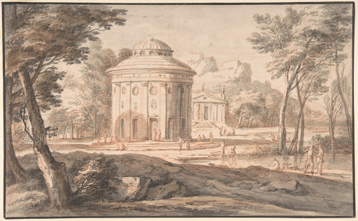 Landscape with Two Classical Temples and Figures