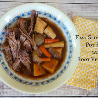 Easy Slow Cooker Pot Roast with Root Vegetables.