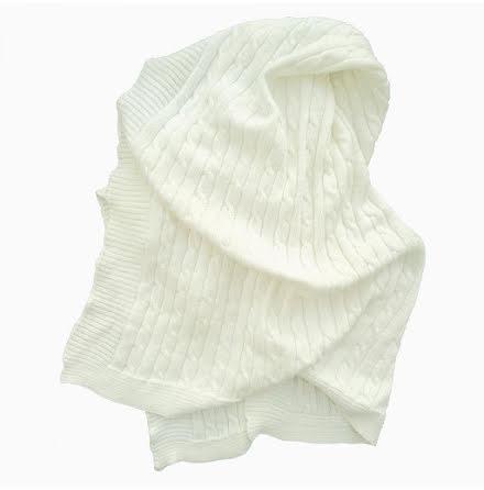 Summerville stickad filt vit eko