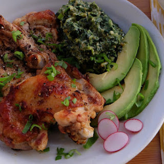 Butterfied Black Pepper Chicken With Nutty Spinach.