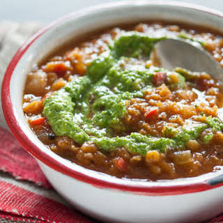 Mexican Red Lentil Soup with Cilantro-Almond Pesto.