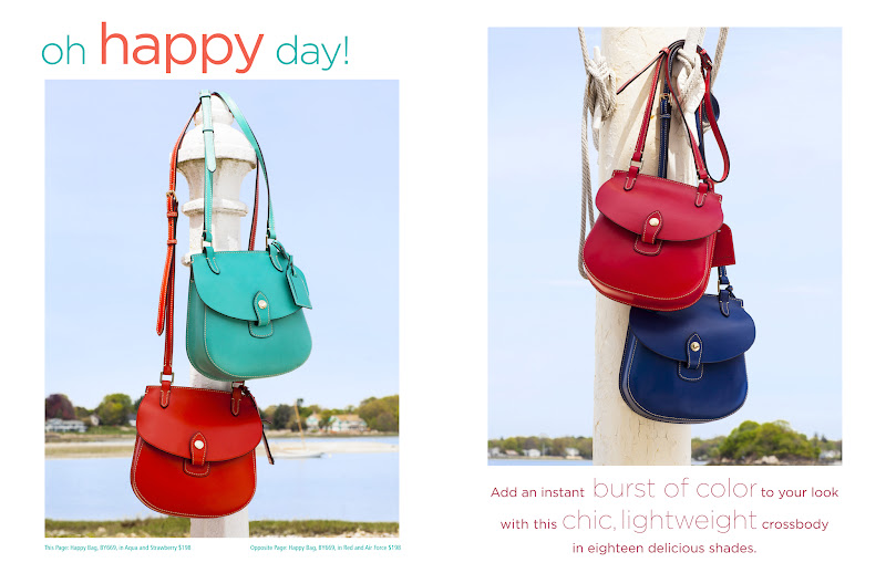 Photo: Happy Bag in Strawberry, Aqua, Red, and Air Force (BY669) www.dooney.com/db/LookBook0612-BY669