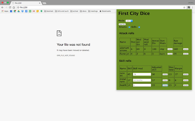 First City Dice (GURPS)