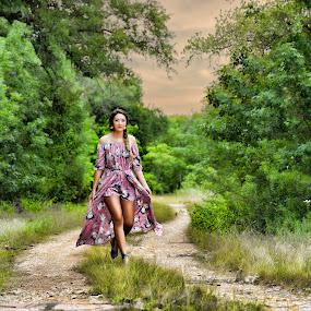 Walk by Sharyl Goodpaster - People Portraits of Women ( spring, woman, senior portrait, road, portrait )