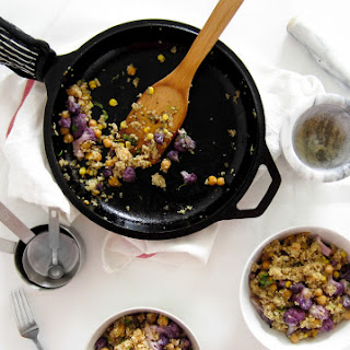 Quinoa, Purple Cauliflower, and Chickpea Bowl