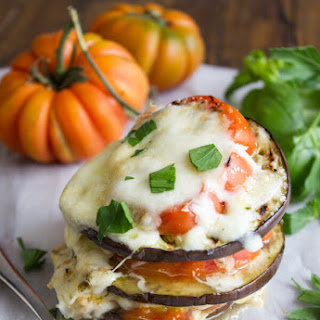 Easy Double Cheese Grilled Tomato Eggplant Stacks