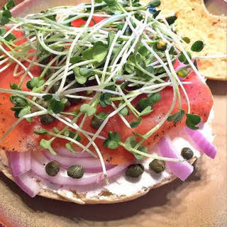Bagels and Lox with Microgreens.