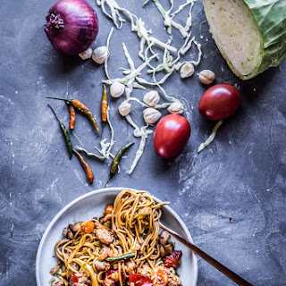 Indonesian Mie Goreng (Indonesian stir-fried noodles)-6 servings.