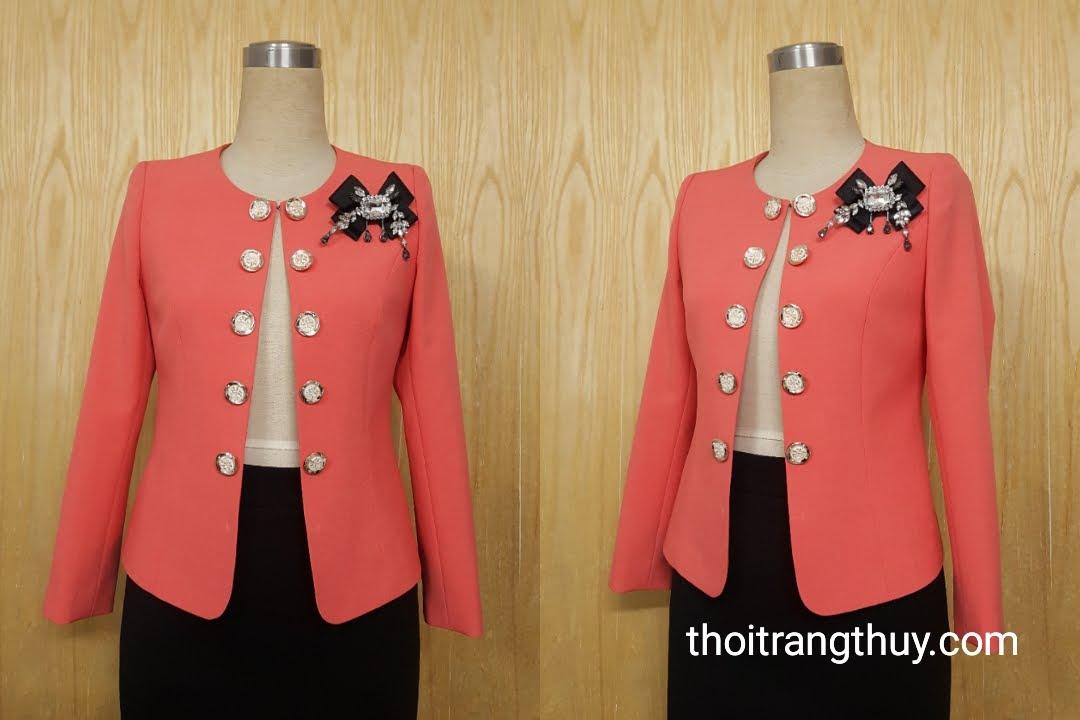 Áo vest nữ công sở cổ tròn hai hàng cúc V503 tại Hải Phòng