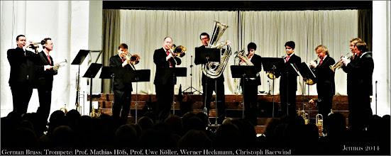 Photo: German Brass Combo mit: Trompete: Prof. Mathias Höfs, Prof. Uwe Köller, Werner Heckmann, Christoph Baerwind
