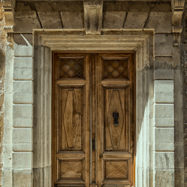 Closed Entry by Johannes Oehl - Buildings & Architecture Architectural Detail ( old, europe, wood, languedoc-roussillon, stone, door,  )