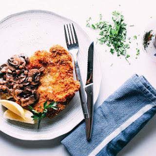 Pork Schnitzel + Mushroom Sauce.