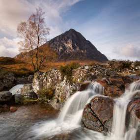 Never say never again by Neil O'Connell - Landscapes Mountains & Hills ( scotland, mountain, tree, rannoch moor, glen etive, stob dearg, waterfall )