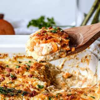 Herb Scalloped Sweet Potatoes and Bacon Au Gratin